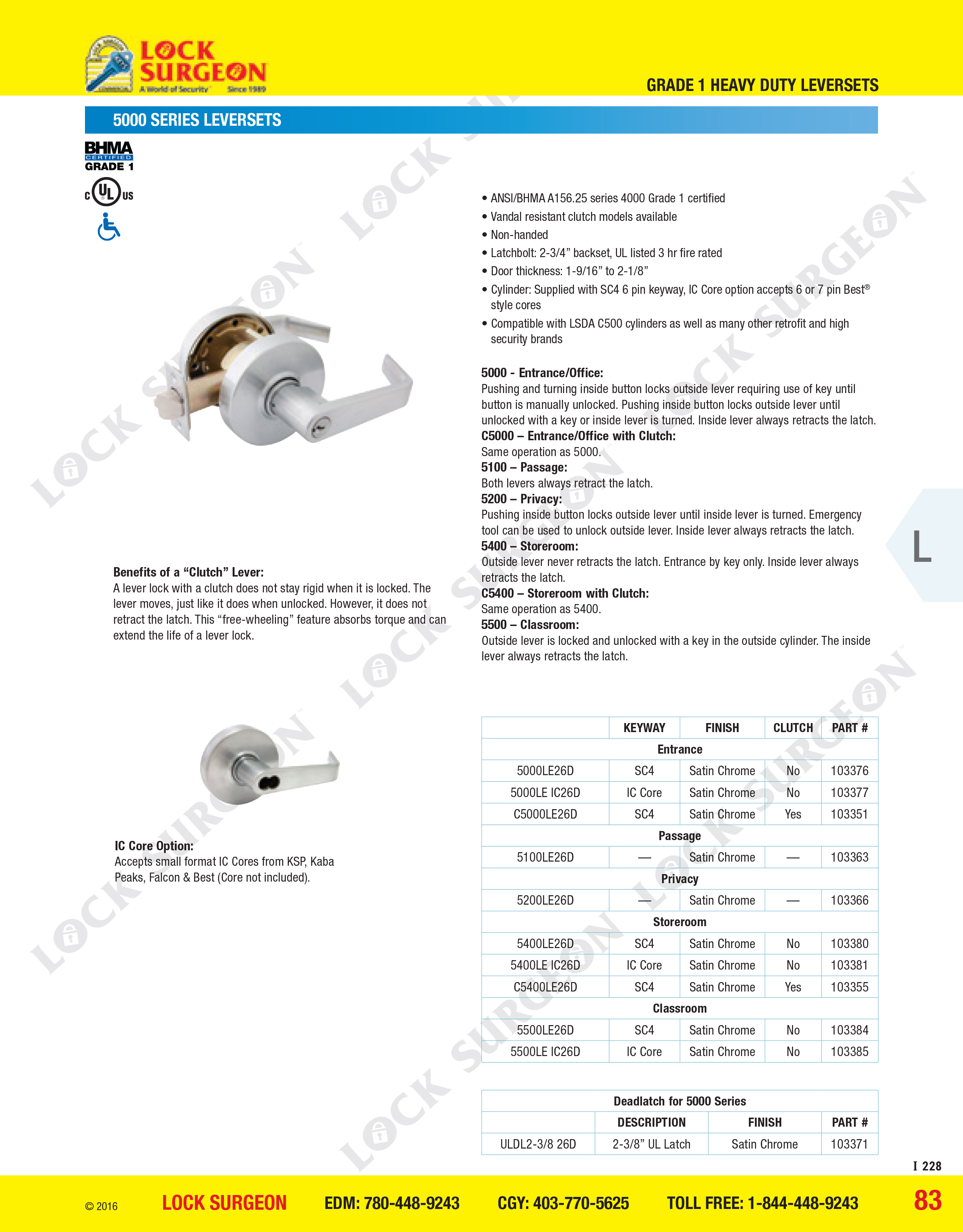112 Rimlock Deadbolt Brass Lacquer Finish Yale 1-1//8 to 2-1//4 Door Thickness Rim Cylinder