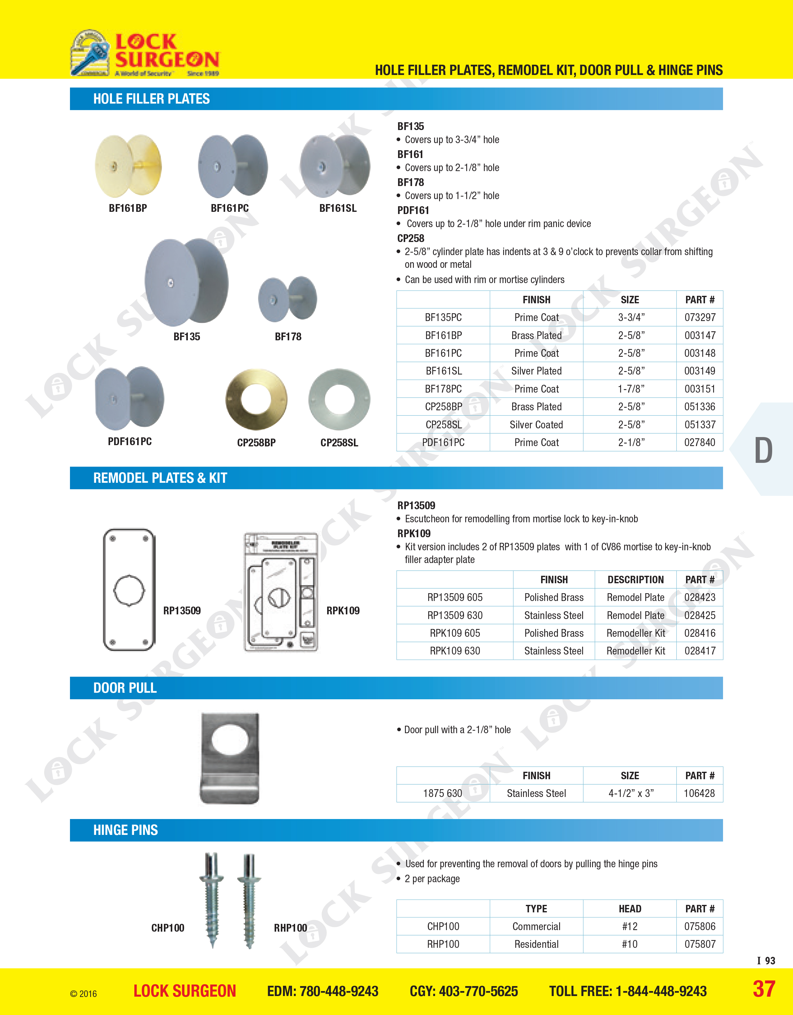 Hole filler plates, remodel plates kit, door pulls hinge pins