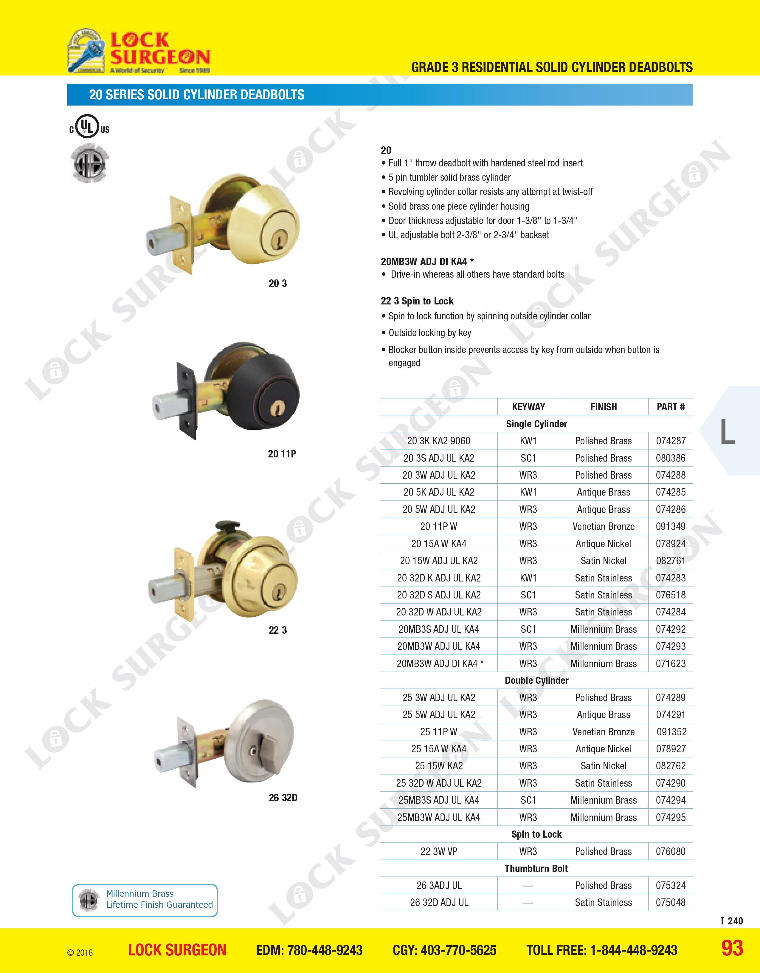 top of grade deadbolts come in silver, brass, nickle, stainless steel and venetian bronze colours, single-sided cylindar or double-sided cylindar